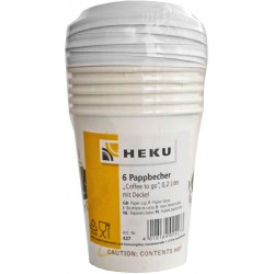 HEKU Pappbecher 'Coffee to Go' mit Deckel 0,2l 6 Stk