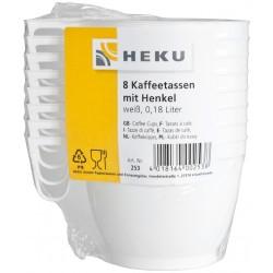 HEKU Kaffeetassen mit Henkel 0,18l 8 Stk