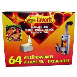 favorit Anzündwürfel für Grill, Kamin und Ofen, 64-er Pack